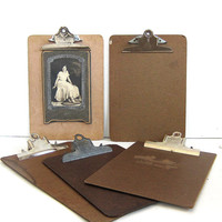 vintage clipboards // picture clip board wall hangings / set of 5