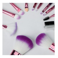 12pcs Professional Cosmetic Makeup Make up Brush Brushes Set With Purple Bag Case