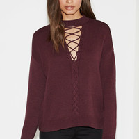 Kendall and Kylie Lace-Up Cable Knit Pullover Sweater at PacSun.com
