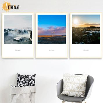 IceLand City Mountain Grassland Nordic Posters And Prints Wall Art Canvas Painting Landscape Wall Pictures For Living Room Decor
