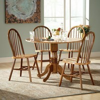 Windsor 5-pc. Drop-Leaf Dining Table & Chair Set (Brown)