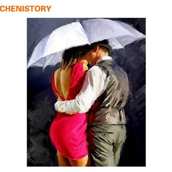 CHENISTORY Kiss Lover DIY Painting By Numbers Acrylic Figure Painting Hand Painted Modern Wall Art Picture For Unique Gift 40x50