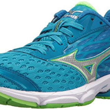 MIZUNO WOMENS WAVE CATALYST 2 RUNNING SHOE, DIVA BLUE/GREEN FLASH, 6 B US