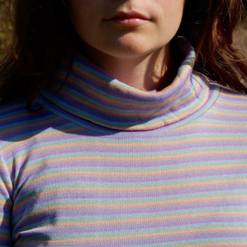 NEW YEAR SALE 70s/80s  Pastel Rainbow Turtleneck Long Sleeve Vintage Sweater Bodycon Top