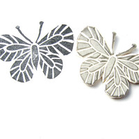Butterfly Rubber Stamp - Handcarved Stamp, Butterfly Stamp, Small Animal Stamp