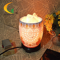 Free Shipping Local shipping S-class ceramic hollow Himalayan salt crystal lamp bedroom lamp night light computer small table la