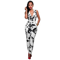 New Arrival 2016 Summer Bodycon Jumpsuit Long Bodysuit Women Print Sleeveless Ankle-length Pants Deep V-neck Sexy Club Jumpsuits