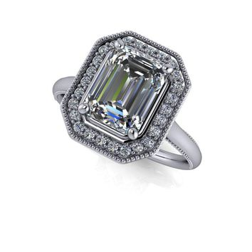 Free Center Stone! Emerald Cut Halo Engagement Ring - Milgrain Accents - Celestial Premier Moissanite