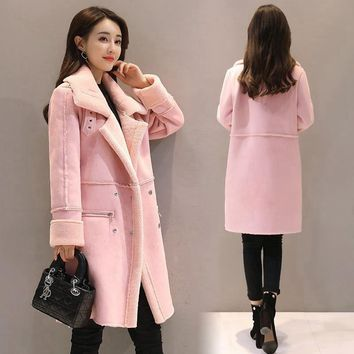 New 2017 Winter Parkas Long Loose Thick Jacket Lamb Fur Coat Suede Warm Coat Zipper Turn-down Collar Double Breasted Outwears