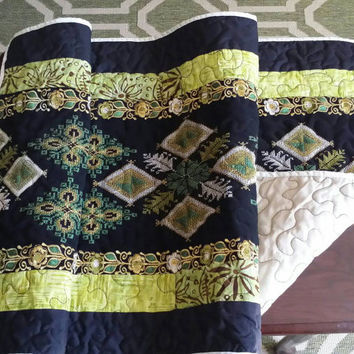 Green black handmade quilted Table Runner, machine embroidery,  homemade table runner, quilted topper, home decor