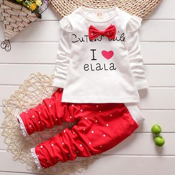 New Baby Clothing Set 2016 Spring/Autumn Baby's Set Cartoon Bow Boys Girls Clothes 2pcs Suits Pant Children Clothing for Girls