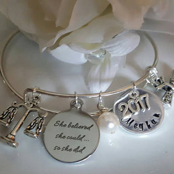 Graduation Bracelet, Law School Graduation, JD Degree, Bar Exam Gift, Law School Graduate, Law Student, She Believed She Could So She Did