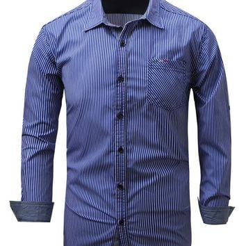 Men Classic Business Stripe Long Sleeve Stretch Casual Button-Down Shirts Blue US L