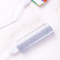 Silver Glitter Portable Charger/Power Bank