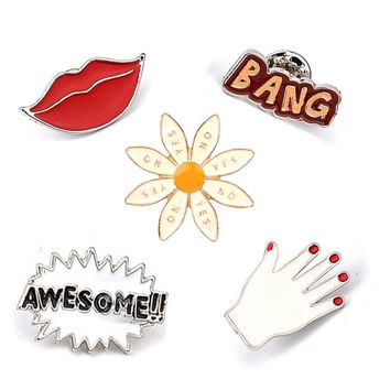 Cool Red Lips Fingers Sunflower Awesome Bang Letters Brooch Button Pin Denim Jacket Shirt Pin Badge Jewelry Gift for Loves Kids