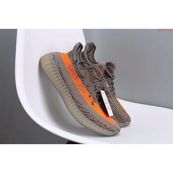 """Adidas"" Fashion Casual Women Yeezy Boost Sneakers Running Sports Shoes Grey+Orange G"