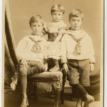 Cabinet Card Photo - Cute Portrait of 2 Brothers and Little Sister - L R Goodman of Margate England