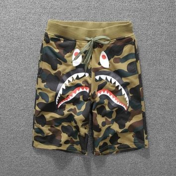 Casual Pants Camouflage Peep Toe Print Couple Cotton Shorts [136013643795]