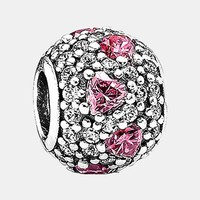 Women's PANDORA 'Shimmering Heart' Pave Bead Charm - Sterling Silver