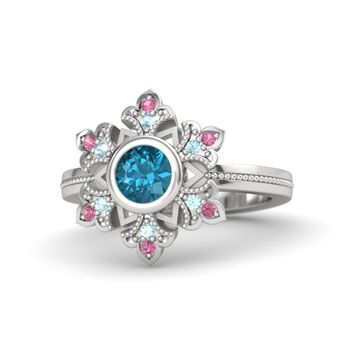 Round London Blue Topaz Sterling Silver Ring with Aquamarine & Pink Tourmaline