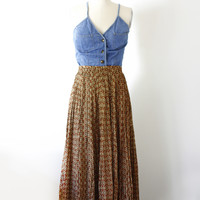 Vintage High Waisted Silk Printed Skirt