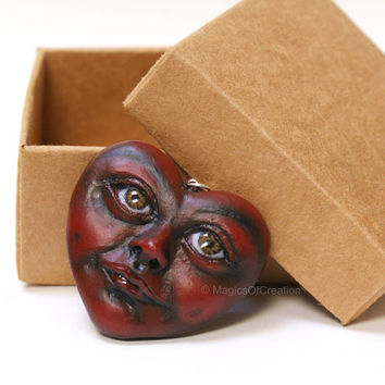 Love Is Kind! OOAK handmade air dry clay heart pendant for Valentine's, one of a kind dark red portrait sculpture, romantic art jewelry