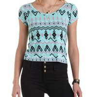 Light Turquoise Combo Cross-Back Tribal Print Tee by Charlotte Russe