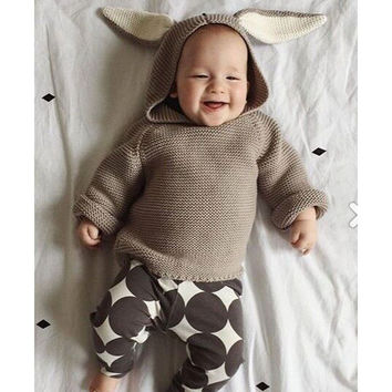 Autumn New Baby Boys Sweaters 3D Rabbit Cotton Pullover Kids Girls Knitted Sweater for 1-5Y Girls Boys Cardigan