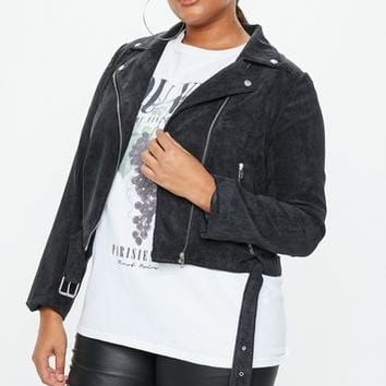Missguided - Plus Size Black Cord Aviator Jacket