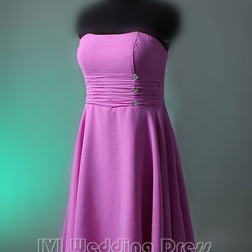 Real Pictures Short Bridesmaid Dress with Pleated Ruched Bodice Women's Dress