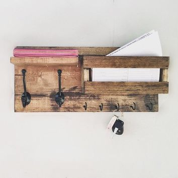 Mail Organizer , Key & Mail Holder, Rustic Organizer, Farmhouse Decor