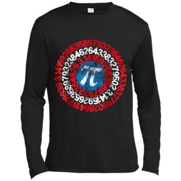 Captain Pi Superhero Shield Funny Math Pi Day  Long Sleeve Moisture Absorbing Shirt