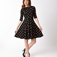 Unique Vintage Black & Orange Pumpkin Patch Knit Flare Dress