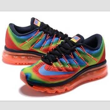 DCK7YE NIKE' Trending AirMax Toe Cap hook section knited Fashion Casual Sports Shoes Rainbow