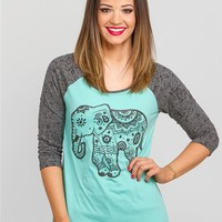 Elephant Burnout Baseball Graphic Tee