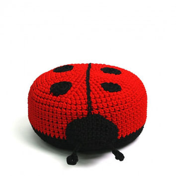 handmade crocheted POUF  toy LADYBIRD