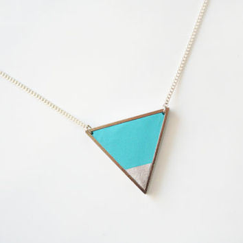 Light blue Triangle geometric necklace silver color dipped