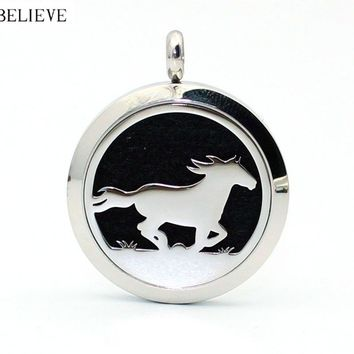 30mm Horse Logo Stainless Steel Aromatherapy Essential OilDffuser Pendant necklace