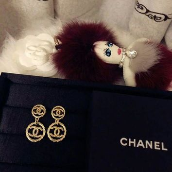 Chanel Earrings Dangle With 2 Hoop Earrings Jewelry