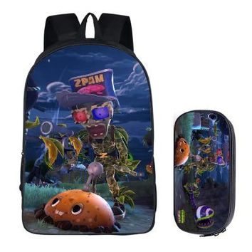 Anime Backpack School Japanese kawaii cute Plants vs. Zombies 2PC Set with Pencil Case Student Backpacks DIY Printing Cool School Bags For Boys Book Bag AT_60_4