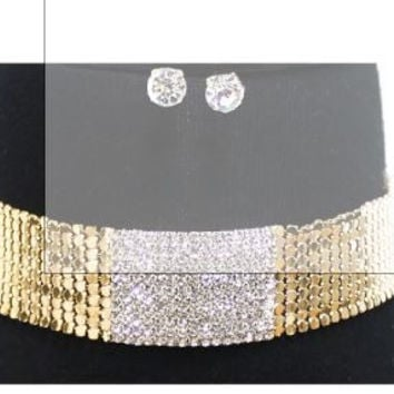 Thick Metal Disc Choker Necklace Set With 1 1/2 Inch Crystal Studded