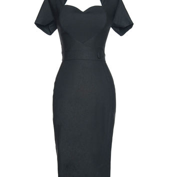 Veronica Dress in Black with Black Heart - Plus Size