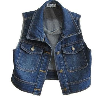DCCKIX3 Retro Cropped Denim Vest with Point Collar = 1929804868