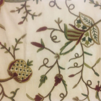 Crewel Embroidery with Wine and Green Botanical Motif  - Crewel Fabric Yardage