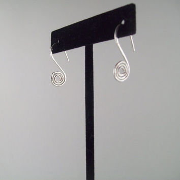 Silver Spiral Hammered Wire Earrings