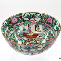 1890s Rose Medallion China Bowl 6 1/8 Inches
