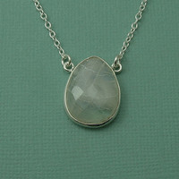 Floating Moonstone Necklace - sterling silver moonstone pendant - large moonstone pendant - goddess jewelry