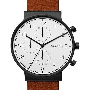 Skagen | Ancher Chronograph Leather Strap Watch, 40mm