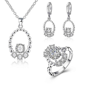 floating charms silver plated jewelry set Beans Ring+Necklace+Earrings african jewelry set