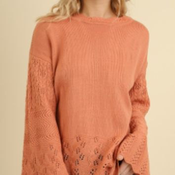 Bell Sleeve Crochet Sweater
